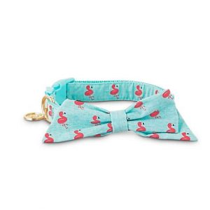 Bond & Co. Pink Flamingo Bow Tie Dog Collar, Medium